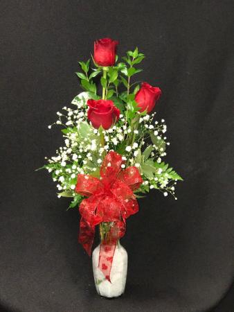 Triple Rose Bud Vase Red or pink Roses