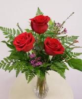 Triple Rose Bud Vase RED Valentine's Day