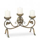 Triple Scroll Pillar Candle Holder