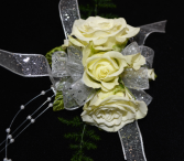 TRIPLE WHITE ROSE CORSAGE FOR IN STORE PICK ONLY WRIST CORSAGE