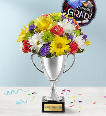 Trophy Bouquet Graduation Floral Arrangement