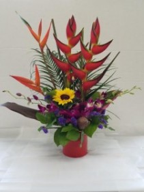 Tropical Arrangement Heleconia, Ginger, Orchids, Sunflowers & More!