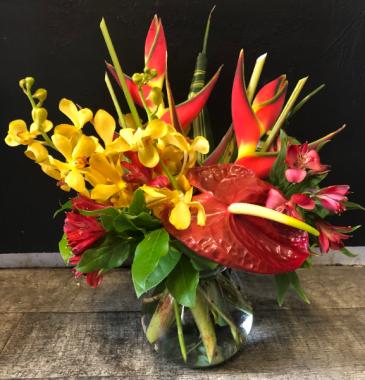 Tropical Chic Fresh Tropical Arrangement in vase