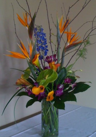 Tropical floral custom floral arrangement