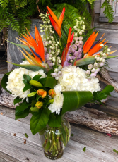Tropical Garden Bouquet Arrangement in Vase