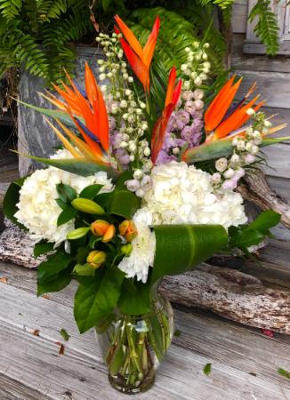 Tropical Garden Bouquet Arrangement in Vase