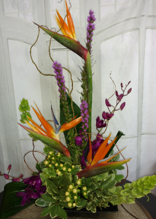 Tropical High-Style  Fresh arrangement- Available after Feb. 9th