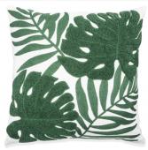 Tropical Leaf Embroidered Cushion