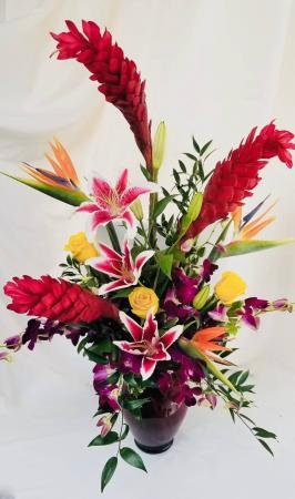 Tropical Love Vase arrangement in Coral Springs, FL | Hearts & Flowers of Coral Springs