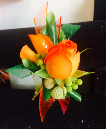 Tropical Oasis Orange Spray Rose Modern Boutonniere