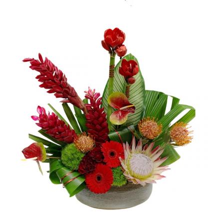 Tropical Paradise Ceramic Vase Arrangement