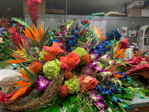 Tropical Send Off Casket Flowers in Houston, TX | Mary's Little Shop Of Flowers