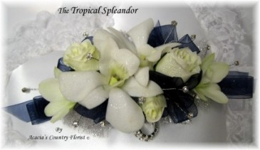 Tropical Spleandor with Rhinestones  Wrist Corsage