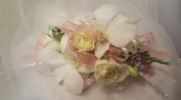 Tropical Splendor Wrist Corsage Ordhids & Roses