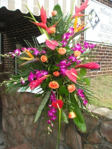 Tropical spray funeral flowers in Knoxville, TN | ALWAYS IN BLOOM LLC