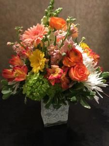 Tropical Sunset rectangle vase