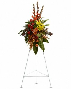 Tropical Tribute Spray Sympathy Arrangement in Jasper, TX | BOBBIE'S BOKAY FLORIST