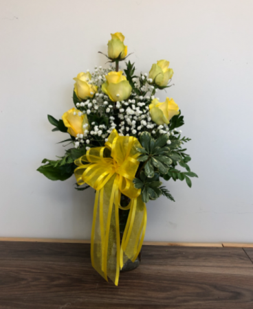 True Friendship 6 yellow roses in a vase