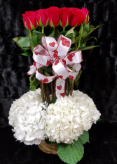 True Love Forever Basket of Hydrangea and Red Roses