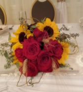 True Love Roses And Sunflower Bouquet