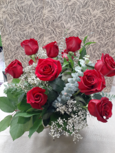 True Love  12 Roses arranged in a Vase