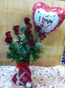 True Romance Dozen roses with gifts