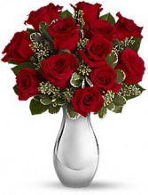 TRUE ROMANCE 12 ROSES IN SLIVER VASE
