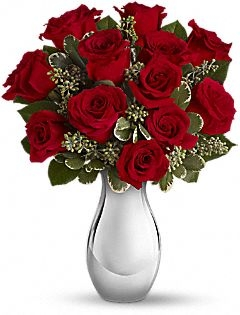 TRUE ROMANCE 12 ROSES IN SLIVER VASE in New Port Richey, FL | FLOWERS TODAY FLORIST