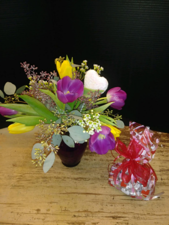Tu Lips and a Kiss Vase of tulips with a bag of kisses