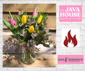 Tulip Arrangement and Gift Card  To a Local Restaurant in Iowa City, IA | Every Bloomin' Thing