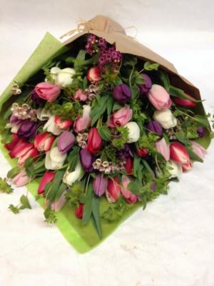 Tulip Explosion! Hand Tied Vase Ready in Brattleboro, VT | WINDHAM FLOWERS