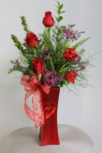 Tulip Heart Vase Arrangement