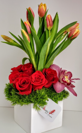 Tulip Love Topiary V21-822 Flower Arrangement in San Juan, PR   ELIKONIA FLOWERS