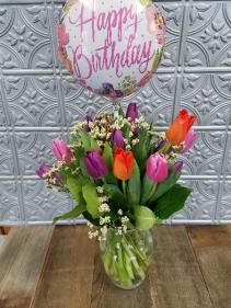 Tulip Rainbow Vase Arrangement with Balloon