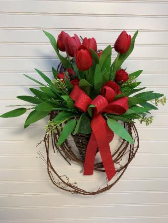 Tulip Surprise  Artificial Door Basket