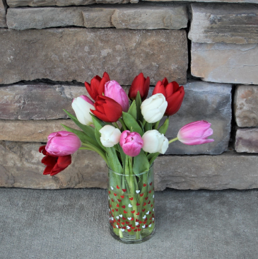Tulips and Hearts Tulip Arrangment