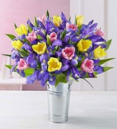 Tulips and Iris French Tin Bouquet Spring Arrangement