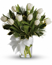 Tulips And Pine Arrangement