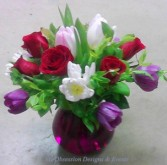 Tulips and roses in a purple vase, MO-95 Fresh floral