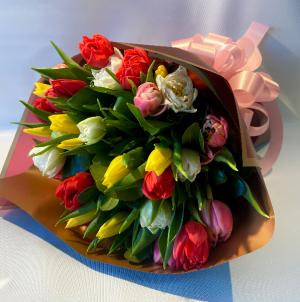 Tulips Bundled Wrap Bouquet  in Falls Church, VA | Geno's Flowers