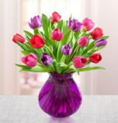 Tulips for Your Valentine - Purple Vase Arrangement