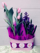 Tulips & Hyacinths in Daisy Bowl