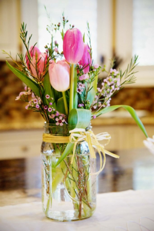 Tulips in a mason jar