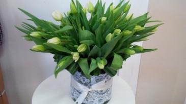 Tulips & Lace Vase Arrangement