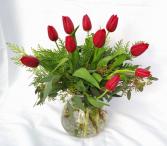 Tulips On Ice Vase Arrangement