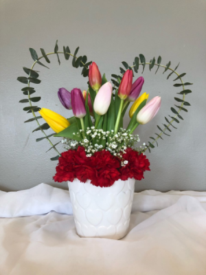 Tulips, One Heart  Valentine's Day Container  in Virginia Beach, VA | FLOWER LADY