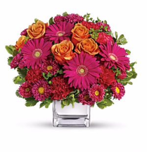 Turn Up The Pink Cube Vase in Riverside, CA | RIVERSIDE BOUQUET FLORIST