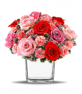 Turn Up The Pink Cube Vase in Redlands, California | REDLAND'S BOUQUET FLORIST & MORE