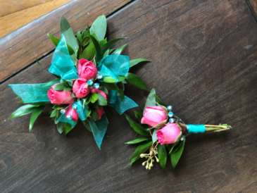 Turquoise & Pink Corsage & Boutonniere