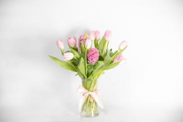 Tutu Beautiful a dozen tulips with premium filler flowers